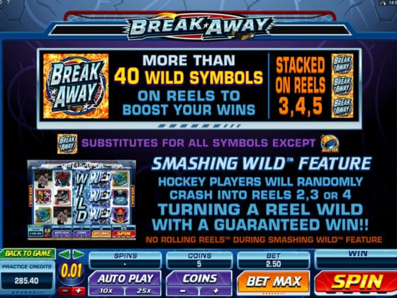 Break Away Online Slot Pay Table