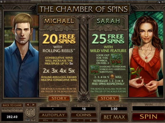 Immortal Romance Online Slot Pay Table