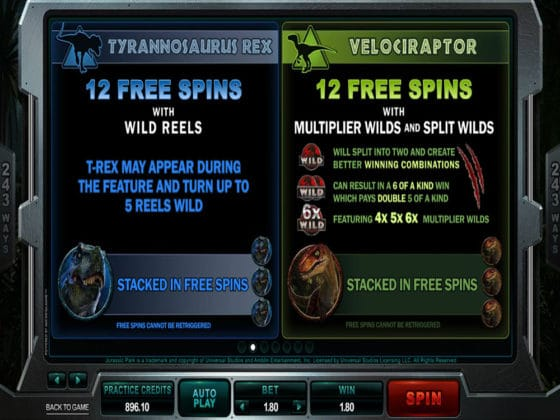 Jurassic Park Online Slot Pay Table