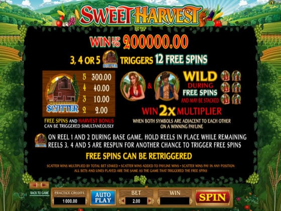 Sweet Harvest Online Slot Pay Table